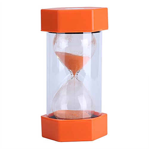 Fdit Reloj de arena de 3/10/20/30/60 minutos, hogar, oficina o como regalo, 20 minutos, amarillo, reutilizable, embalaje Socialme-eu, color naranja