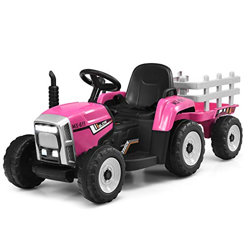 Costzon 12V Kids Ride On Tractor with Trailer, Battery Powered Electric Vehicle Toy Car with 2.4G Remote Control, 3-Gear-Shift Ground Loader Ride On with LED Lights, USB & Bluetooth (Pink)