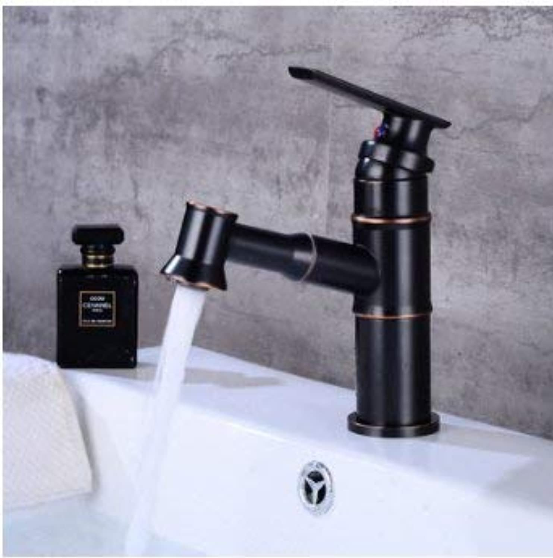Oudan Pulling Faucet Retro Bathroom Faucet Basin Hot and Cold Faucet Single Hole Faucet (color   -, Size   -)