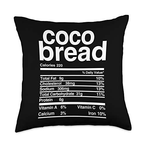 Tropique Jamaican Food Apparel Jamaican Coco Bread Nutritional Value Throw Pillow, 18x18, Multicolor