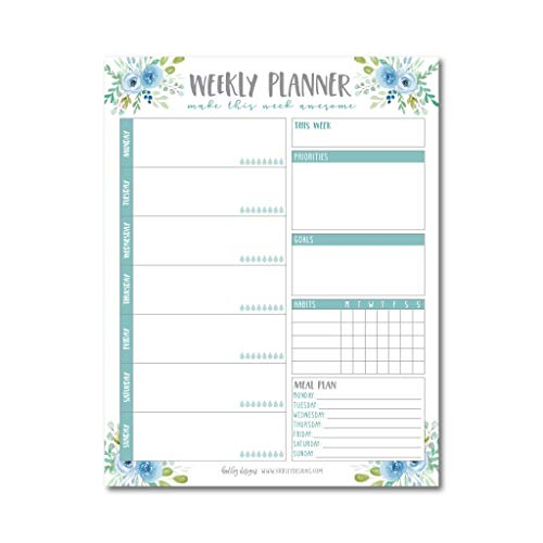 Teal Undated Weekly Family Calendar Planner Pad, Mom Monthly to Do List Desk Paper Notepad, Week Day Weekend Organizer, Personal Goal Habit Tracker, Kids School Work Productivity, 50 Tear Off Pages