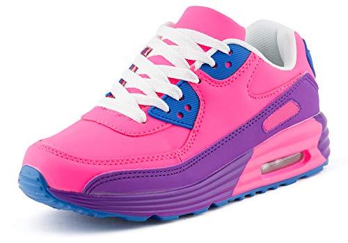 Fusskleidung Unisex Damen Herren Sportschuhe Übergrößen Laufschuhe Turnschuhe Neon Sneaker Schuhe EU Pink Lila Lila 41