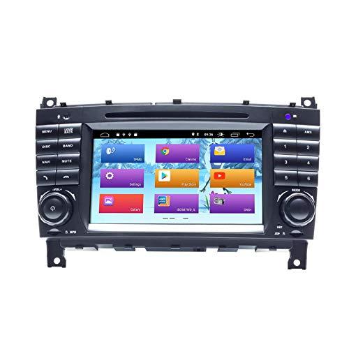 JIBO Android 10.0 Auto Radio GPS Navegación Cabeza Unidad 7' Capacitivo Digital HD Pantalla WiFi SWC Nav Sat por Mercedes Benz Clase C W203 2004-2007 Estéreo Multimedia Jugador