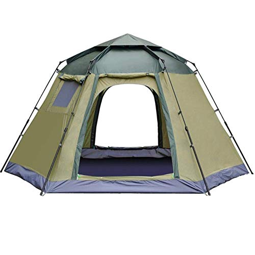 Qiutianchen Outdoor Tent,Double Layer Dome Tent, 5 To 8 Person Automatic Opening Hexangular Hydraulic Double Layer Tent - Ultra Large Waterproof Dome Tent with Porch - 100% UV Protected Family Ca