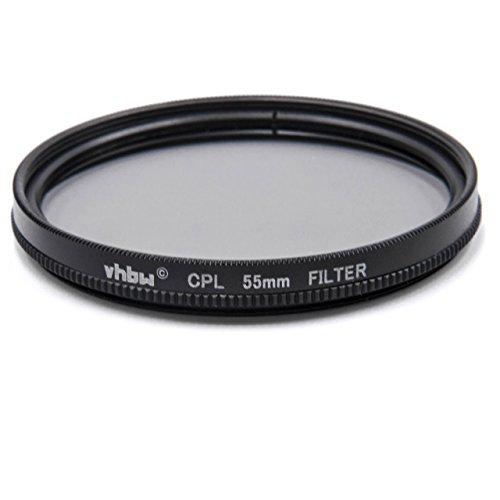 vhbw filtro polarizzatore universale compatibile con obiettivi di fotocamere con attacco da 55mm - Filtro polarizzante circolare (CPL), nero