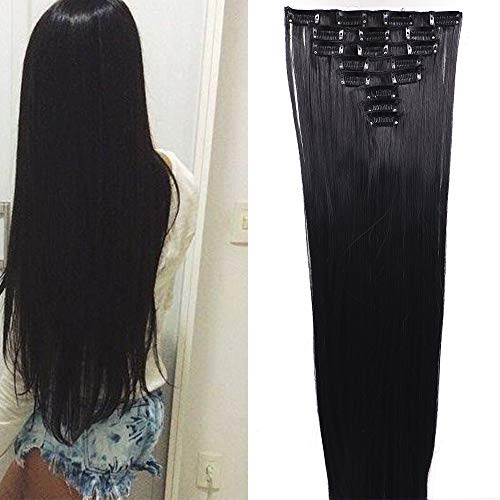 Extensiones de Cabello Natural Clip 8 Piezas Pelo Sintetico Liso Postizo Largo Full Head Clip in Hair Extension (Negro)