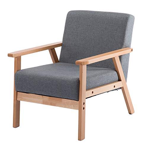 DORAFAIR Retro Sessel Stuhl Grau Lounge Sessel mit Massivholz-Struktur Hochwertigem Gepolsterten und Rückenlehne,für Wohnzimmer Schlafzimmer Skandinavisches Designsessel