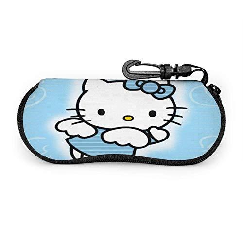 Estuche para gafas Anime Hello Kitty Estuche para gafas de sol Estuche para gafas con cremallera de neopreno ultra suave y ligero con clip para cinturón