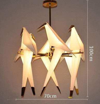 LILICEN Luces colgantes Araña de papel de pájaro for cocina comedor sala de estar origami papel de metal lámpara colgante lustre Avele moderno salón araña (Emitting Color : Cold white)