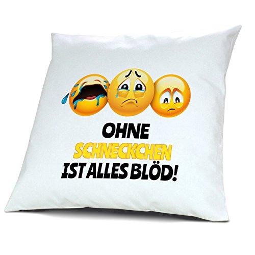 Kopfkissen mit Namen Schneckchen - Motiv Ohne Schneckchen ist alles Blöd!, 40 cm, 100% Baumwolle, Kuschelkissen, Liebeskissen, Namenskissen, Geschenkidee