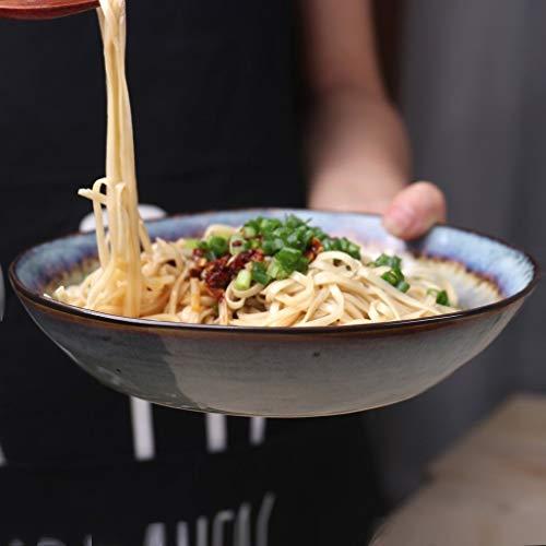 Grand plat profond Assiette de pâtes Soupe Ramen Bol de nouilles Salade de fruits Bol de service Créative Crack de glace irrégulière Vaisselle en céramique Vaisselle au micro-ondes 7,8 pouces (Co