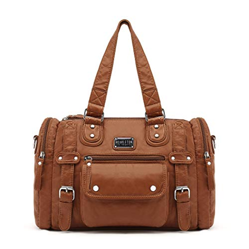 【MATERIAL】 This satchel handbag is made from high-quality eco-friendly vegan (PU) leather. Washed with a special technique to make it ultra-soft, sturdy, durable, and easy to clean. Just wipe with a damp cloth to keep this bag looking new. It has cla...