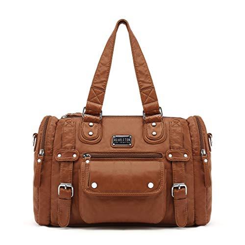 Scarleton Satchel Handbag for Women, Shoulder Bag, Purses for women, Multi pocket handbag, Ultra Soft Washed Vegan Leather Crossbody Bag, H1485