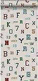 Tapete Zahlen und Buchstaben Beige - 138834 - von ESTAhome.nl