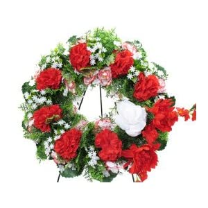 Deluxe Large Silk Wreath in RED for Grave-site Presentation in remembrence of Loved Ones. Easel Mounted