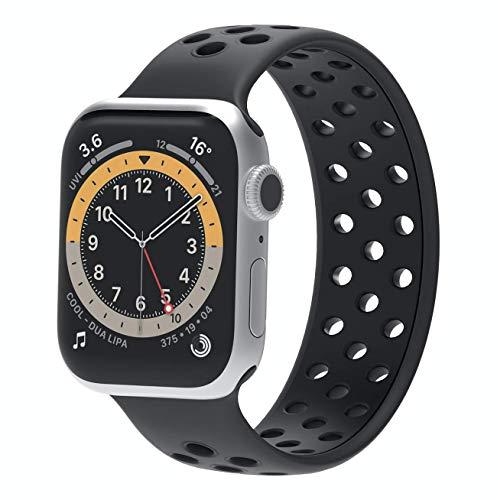 Correa deportiva de silicona líquida con agujero transpirable, impermeable, resistente al sudor, para Apple Watch Series 6/5/4/3/2/1/SE – 38/40/42/44 mm