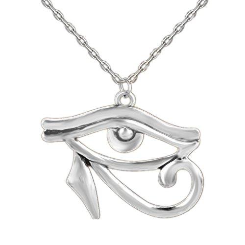 ODETOJOY Antique Silver Eye of Horus Necklace for Men Ancient Egypt Third Eye Jewellery Horus Eye Amulet Pendant All Seeing Eye Protection Against Evil Eyes (Silver)