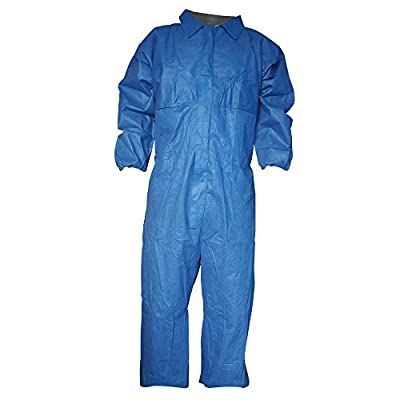Raygard Blue Flame Resistant Retardant FR Coverall Disposable Elastic Wrist Waist Front Zipper Closure for Fame Heat Work Spray Paint Mechanic