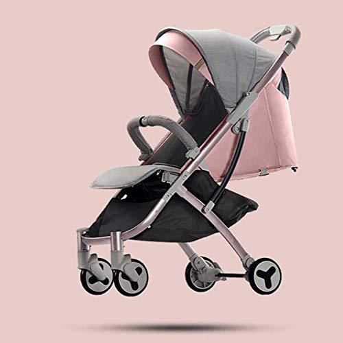 Cochecitos cómodos Los carritos de bebé Pueden Sentarse Horizontal Plegable portátil Absorción de Golpes Recién Nacido Four Seasons Plegable Universal con una Sola Mano (Color: Rosa)