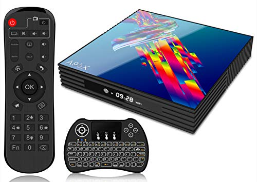 Android 9.0 TV Box A95X 4K Smart TV Box [4GB RAM +32GB ROM] Bluetooth 4.2 3D RK3318 Quad-core Cortex-A53 CPU 2.4G/5GHz WiFi Ethernet LAN100M H.265 with Wireless Mini Backlit Keyboard TV Box