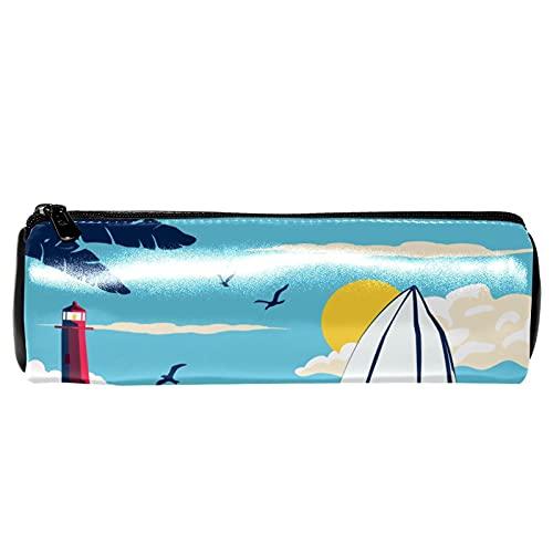 Lighthouse Surf Surfboard Wave - Estuche de piel para lápices, monedero, bolsa de maquillaje para estudiantes, papelería, escuela, trabajo, oficina, almacenamiento