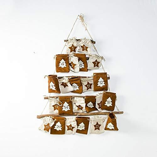 NoNoNo Kerstmis Countdown stof hangende buidel-geheugen-zak-decoratie -kleur: bruin bruin