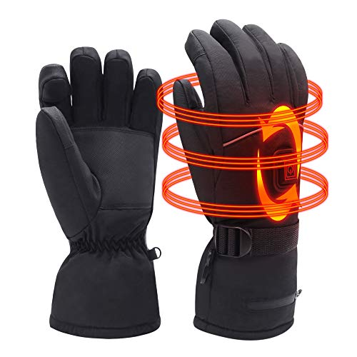 Rechargeable Electric Heated Warm Gloves Men Women Waterproof Insulated Heating Gloves Thermal Gloves for Winter Sport Hunting Motocycle Climbing Camping,Temperature Adjustable,Black,L/XL