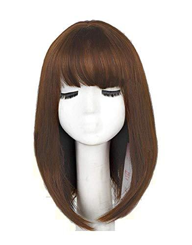 Pruik met lang haar met rechte pony - synthetisch - 42 cm - uitstekende kwaliteit - luxe - vermomming - carnaval - halloween - vrouw - kerstverjaardagsgeschenkidee - licht koperbruin