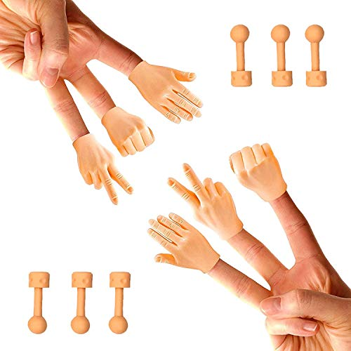 Daily Portable Tiny Hands (Rock, Paper, Scissors, + Holding Sticks) - 6 Pack + 6X Holding Sticks (Right Hands Only) TIK Tok