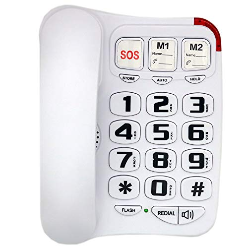 JeKaVis J-P45 Big Button Phone for Seniors, Landline Corded Phone with Speakerphone, Amplified Phones for Hearing Impaired Elderly, Support Speed Dial