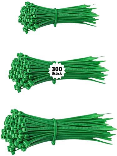 djb, extra hochwertige Profi Kabelbinder grün, Set, 300 Stück, Industrie-Qualität, Sortiment 100/140/200 mm