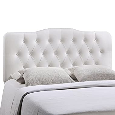 Modway Annabel Upholstered Tufted Button Vinyl Headboard Queen Size In White