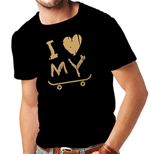 lepni.me Camisetas Hombre I Love my Skate ! - For Skaters Quotes, Skate Longboard, Skateboard Gifts (XXX-Large Negro Oro)
