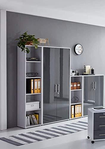 abschliessbarer Aktenschrank Büroschrank Schrankwand Büromöbel Regal Office Edition in Lichtgrau/Anthrazit Hochglanz (Set 4)