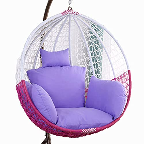 Egg Chair Cushion Only, Hanging Swing Chair Seat Cushion Replacement, Thicken Hanging Hammock Chair Cushion with Headrest and Armrests, Outdoor Garden Chair Pads Light Purple