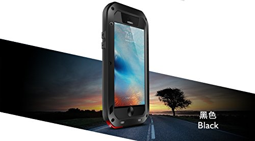 LOVE MEI Carcasa para iPhone 6/6S, de aluminio resistente al aire libre, a prueba de golpes, a prueba de salpicaduras, con película de cristal templado (iPhone 6/6S, negro)
