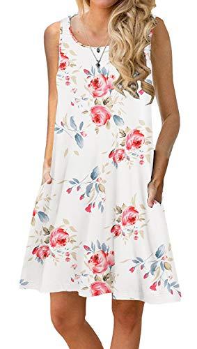 PrinStory vestido de verano plisado con estampado floral, informal, para playa, para mujer - - Small
