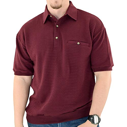 Banded Bottom Classics by Palmland Solid French Terry Polo Shirt - 6090-780 (Large, Burgundy)