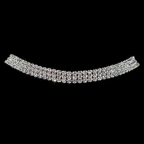 TREW Sparkling Silver Color Crystal Collar Chain Choker Ketting Bridal Vrouwen Wedding Party Diamante Rhinestone Choker Sieraden Kado (Metal Color : 3 rows)