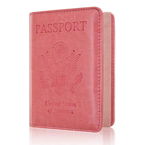 Passport Holder Cover, ACdream Travel Leather RFID Blocking Cover Case Wallet for Passport with Elastic Band Closure, (Light Pink)