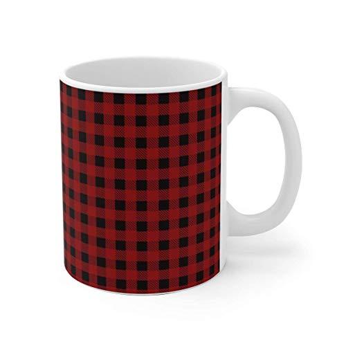 Taza a cuadros rojos, taza de Navidad a cuadros rojos, regalo divertido de Navidad, regalo para ella, regalo para él