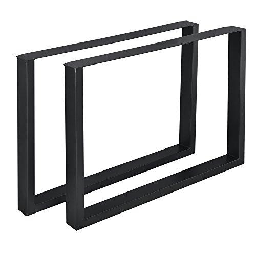 [en.casa] 2 x Conjunto de Patas de Mesa - Set de 2X Patas de Mesa - Metal - Patas de los Muebles - 100 x 72 cm - para Mesa de Comedor - Armazón de Mesa - con protección para Suelo - Negro
