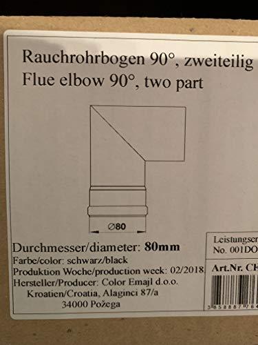 AdoroSol Vertriebs GmbH rookpijp boog tweedelig Pellet in zwart, Ø 80 mm, kachelpijp voor pelletkachels pelletkachel pelletkachel pijp 90 ° boog eenmaal gebogen (punthoek)