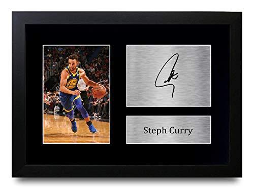 HWC Trading Stephen Steph Curry A4 Gerahmte Signiert Gedruckt Autogramme Bild Druck-Fotoanzeige Geschenk Für Golden State Warriors Basketball-Fans