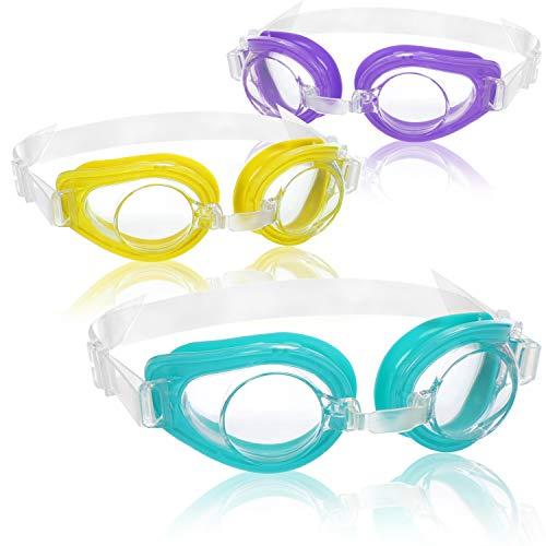 com-four Occhiali da Nuoto 3X per Bambini da 3 a 8 Anni - Maschera da Nuoto in Diversi Colori - Occhiali da Cloro con Protezione UV (03 Pezzi - occhialini da Nuoto)