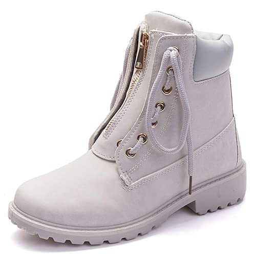 XHLEMON Ankle Boots for Women Low Heel Round Toe Outdoor Hiking Lace up Booties Waterproof Combat Boots