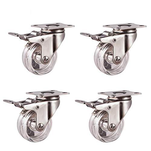 Swivel Caster Wheels with Brakes, Transparent Stainless Steel Universal Wheels, Furniture Trolley Industrial Wheel, Load Capacity 100kg, 4 Packs (1.5'/2')