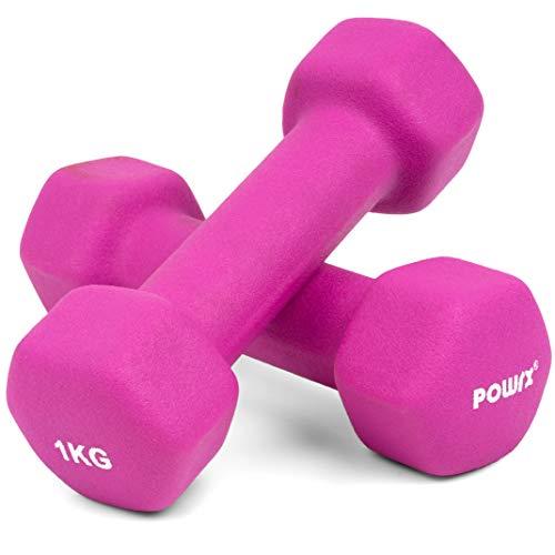 Sechskant Neopren Hanteln (Paar) inkl. Workout I 0,5 – 10 kg I Gewichte für Gymnastik Kurzhanteln (2 x 1 kg)