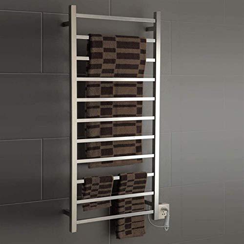Toallero con calentador de toallas eléctrico montado en la pared, y opciones de enchufe, estante de secado de acero inoxidable 304, para decoración del hogar, ducha de baño (tamaño : alambre duro)