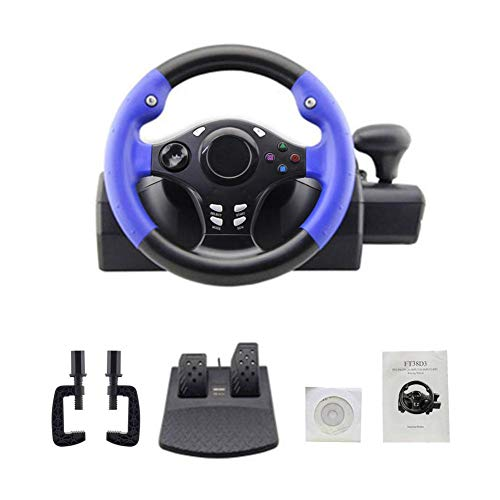 Yunt Racing Wheels, Juego de computadora Racing Steering Wheel USB Vibración de computadora con Pedales sensibles para PS4 / PS3 / PC/Xbox-One/XBOX-360 / Switch/Android